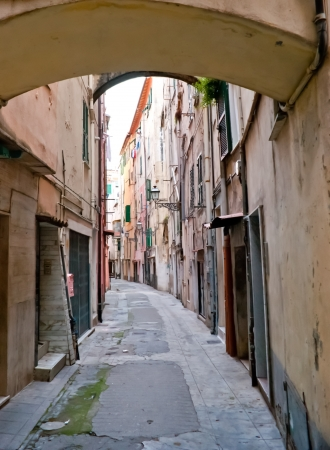 sanremo: there are a lot of narrow streets with scenic arches in Sanremo, Italy