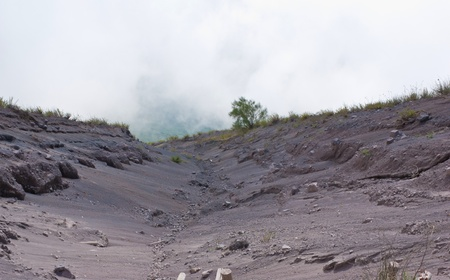 theview from the top on the wide trace of the last eruption of Mount Vesuvius, Italy photo