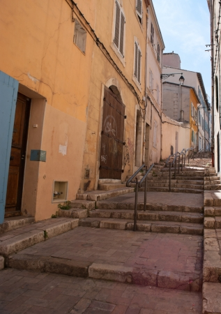 The city of Marseille is situated on the hills so there are many staircases in the old part of it. photo