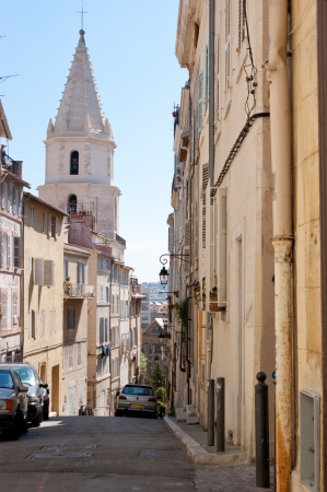 the old streets are full of surprises such as unusual houses, winding turnings and medieval churches, Marseille, France photo