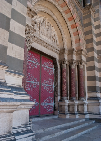 The perfectly decorated entrance to the Cathedrale de la Major, Marseille, France photo