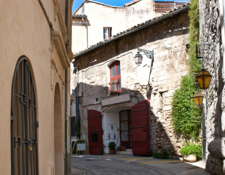 arles: An old warehouse converted into the restaurant and located in a quiet courtyard, Arles, France