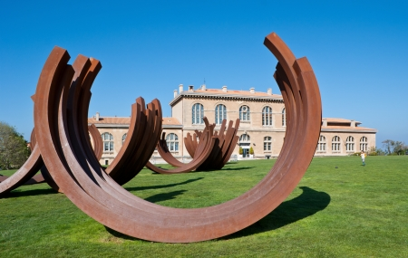 Marseille, France - May 4, 2013: The modern art sculptures in the garden of Palais du Pharo.