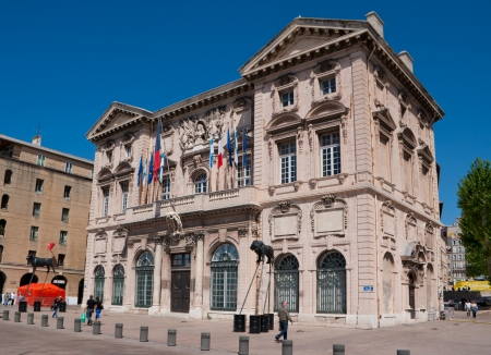 Marseille, France - May 4, 2013: The Marseille cityhall with the modern art sculptures on the foreground