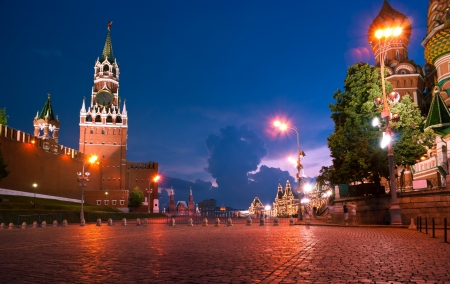 spasskaya: The view on the main landmarks of Moscow in evening illumination