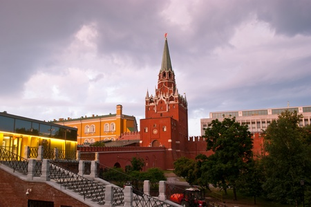 The stars on the Moscow Kremlin towers are shining brightly even in the dark clouds. photo