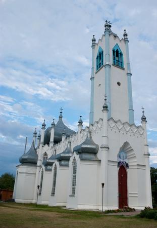 moresque: Facade of the church of Transfiguration of Christ, Moshny village, Ukraine. Stock Photo