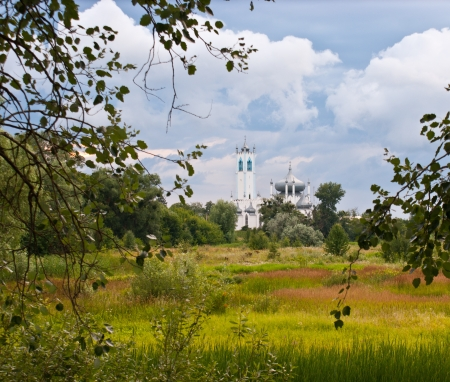 moresque: The view on the church of Transfiguration of Christ from the meadow. Stock Photo