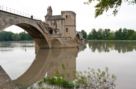 avignon: Pont davignon and its reflection in Rhone river