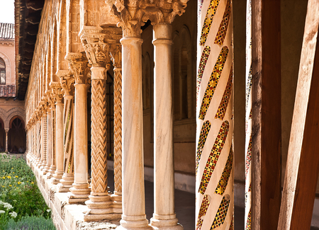 moresque: the columns of courtyard of Monreale cathedral are all different and beautiful. Sicily