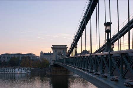 szechenyi: The Szechenyi Chain Bridge and Danube river in the morning light, Budapest, Hungary. Stock Photo