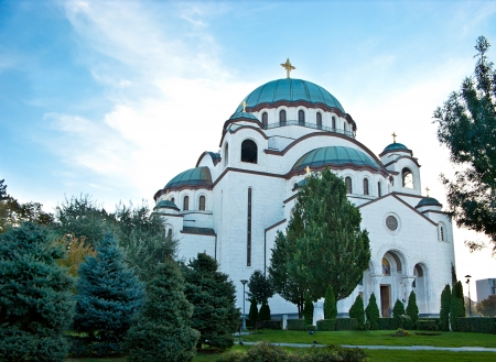 The Cathedral of Saint Sava is surrounded by beautiful park, Belgrade, Serbia  photo