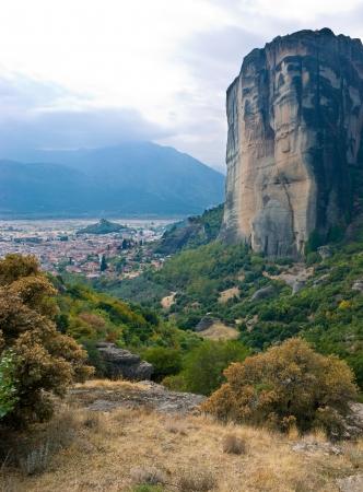 kalambaka: The view on Meteora cliff with Kalambaka town on background, Greece