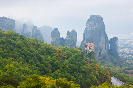 kalambaka: Holy Monastery of Rousanou is located on the separate rock and surrounded by forest, Meteora, Greece