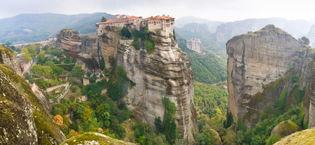 centres: These monasteries were not only centres of religion and spirituality but also defensive fortifications, in a medieval period, Meteora, Greece  Stock Photo
