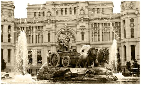 fertility goddess: Vintage postcard with marble fountain with lions was designed by Ventura Rodriguez in 18 century and dedicated to the ancient goddess of fertility Cybele, Madrid, Spain