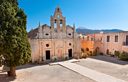 surrounding: The view on the Basilika of Arkadi Monastery from its surrounding gallery, Crete.