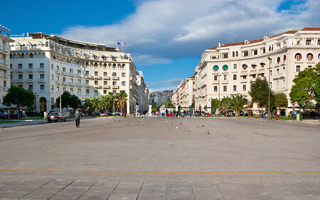THESSALONIKI, GREECE - OCTOBER 17, 2013: Aristotle Square is the main city square and is located on Nikis avenue (on the citys waterfront), on October 17 in Thessaloniki.