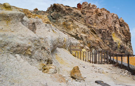 continued: The ruins of ancient crater, located in Porto di Ponente on Vulcano island, it has continued to emit a thin line of sulphurous gases, Aeolian islands, Italy.