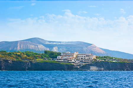 vulcano: Many comfortable hotels are located on the green islet  Vulcanello, connected to Vulcano Island by an isthmus, Aeolian Islands, Italy.