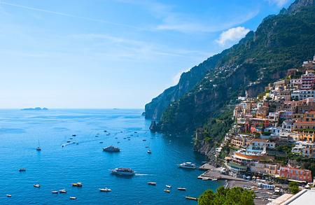 The small haven of Psitano village with the tiny beach and colorful houses, located on the rock, Amalfi coast, Italy.
