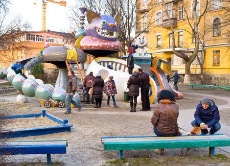 lewis carroll: KIEV, UKRAINE - MARCH 9, 2014: The idea of favorite by children playground on Landscape Alley made by Konstantin Skretutskiy based on Alice in Wonderland of Lewis Carroll, on March 9 in Kiev.