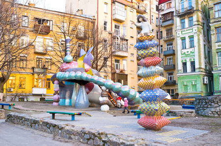 KIEV, UKRAINE - MARCH 9, 2014: The idea of favorite by children playground on Landscape Alley made by Konstantin Skretutskiy based on Alice in Wonderland of Lewis Carroll, on March 9 in Kiev.