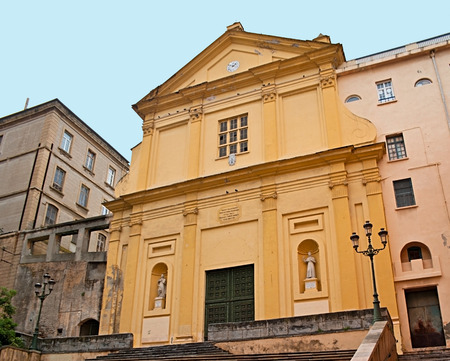 st charles: The facade of St Charles Church also called Saint lgnace (for Ignatius Loyola) in the old town of Bastia, Corsica, France.