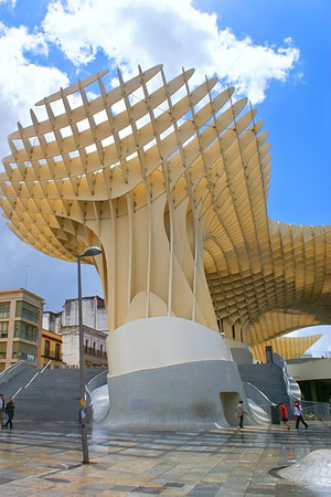 central market: SEVILLE, SPAIN - MAY 3, 2013: Metropol Parasol is a wooden structure located at La Encarnacion square, the Central Market located on the first floor of this building, on May 3 in Seville. Editorial