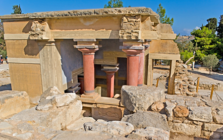 HERAKLION, GREECE - OCTOBER 13, 2013: The Knossos Palace is one of the most popular and recognizable landmarks on Crete, on October 13 in Heraklion. photo