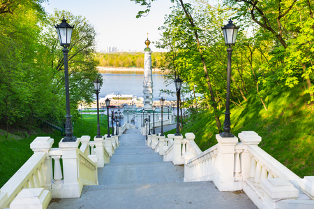 baptizing: The Column of the Magdeburg Rights is the oldest monument in Kiev, that was recently renovated, Ukraine. Stock Photo