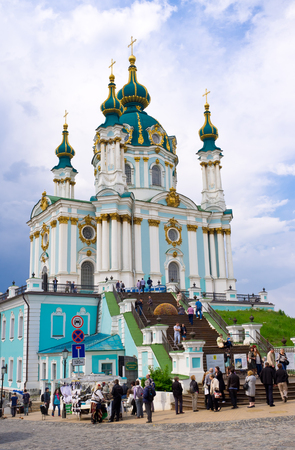 bartolomeo rastrelli: KIEV, UKRAINE - MAY 1, 2014: The St Andrews Church, located on the top of Andrews Descent, is the famous pilgrims place, especially during the Easter celebrations, on May 1 in Kiev.