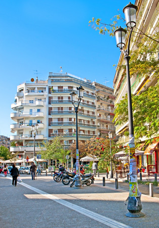 THESSALONIKI, GREECE - OCTOBER 17, 2013: Dimitriou Gounari street is an ancient, pedestrian area in the city centre with cozy cafes, shops, located next to Rotunda (Tomb of Galerius), on October 17 in Thessaloniki.
