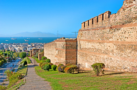 THESSALONIKI, GREECE - OCTOBER 17, 2013: The city walls consist of the typical late Roman mixed construction of ashlar masonry alternating with bands of brick, on October 17 in Thessaloniki. Editorial