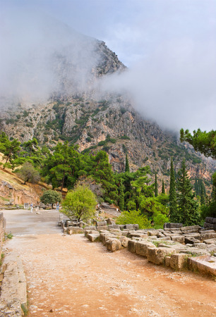 The archaeological area of Delphi located in the high mountains, thats why the weather here is changeable, Greece. photo
