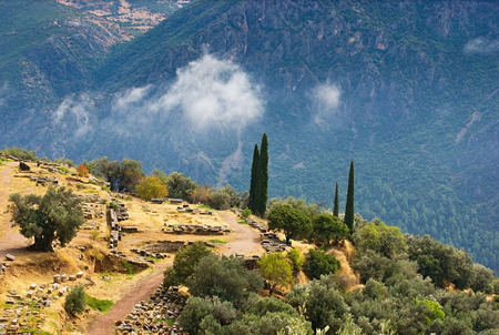 The antique Delphi located on the slopes of Parnassus mountains, Greece. photo