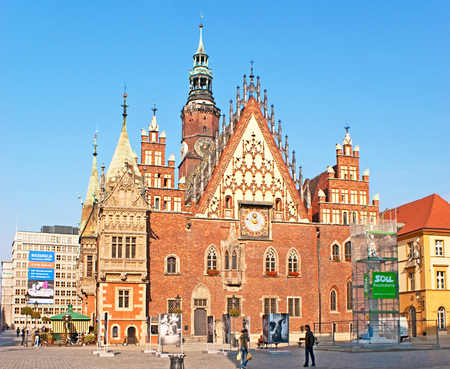 stary: WROCLAW, POLAND - SEPTEMBER 25, 2010: The Old Town Hall (Stary Ratusz) stands at the center of the city's Market Square (Rynek), on September 25 in Wroclaw. Editorial