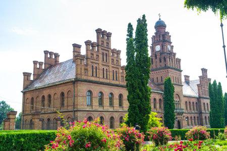chernivtsi: CHERNIVTSI, UKRAINE - JUNE 20, 2014: The former Monastery building with the clock tower, nowadays its the National University, on June 20, 2014.