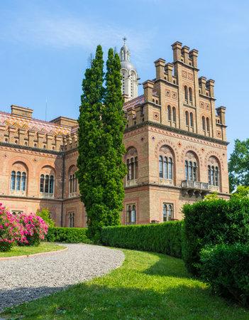 chernivtsi: CHERNIVTSI, UKRAINE - JUNE 20, 2014: The narrow footpath in the ornamental garden leads to the university wing, on June 20, 2014.