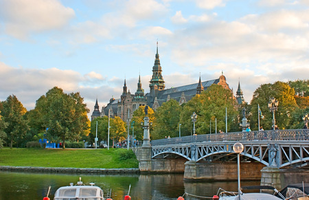 STOCKHOLM, SWEDEN - OCTOBER 2, 2010: The Djurgarden island is famous for interesting museums, the Nordic Museum, surrounded by large park, is on of them, on October 2 in Stockholm.