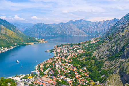 old towns: The Kotor bay is the notable landmark, that boasts beautiful landscapes, cozy beaches and medieval architecture of its old towns and  villages, Montenegro.