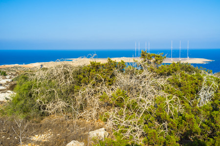 greco: Cape Greco is the notable landmark of Cyprus, located between towns of Ayia Napa and Protaras, both of which are popular tourist resorts. Stock Photo