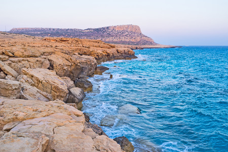 greco: The indented coastline and rocky shore of the Cape Greco, located on the eastern part of Cyprus.