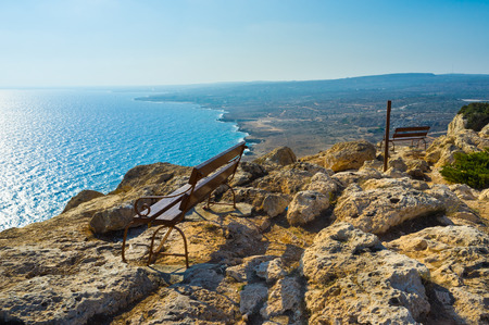 greco: The Cape Greco is the best viewpoint, which overlooks the coastline from the Ayia Napa to Protaras, Cyprus. Stock Photo
