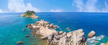 tourist destinations: Katic and Mali Katich islands are very popular tourist destinations next to the coast of Petrovac, Montenegro. Stock Photo