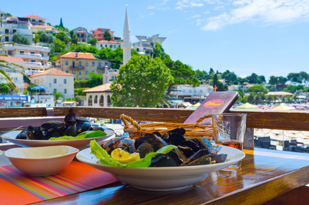 The mussels are one of the main dishes of the local cuisine in the coastal city of Ulcinj, Montenegro. Zdjęcie Seryjne