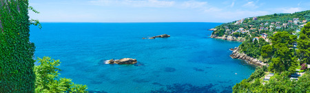 islets: The coast of Ulcinj resort with the rocky islets and scenic cliffs, Montenegro.