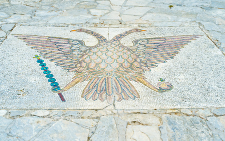 doubleheaded: The double-headed eagle, that is the symbol of the Orthodox Church of Cyprus in the courtyard of Saint Neophytos Monastery.