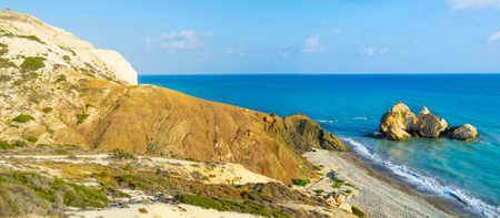 tou: The Saracen rock on the Paphos coastneighboring with the famous Petra tou Romiou and the Aphrodite harbor, Cyprus. Stock Photo
