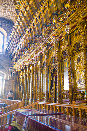 iconostasis: LARNAKA, CYPRUS - AUGUST 5, 2014: The interior of the St Lazarus church with the golden iconostasis, on August 5 in Larnaka.